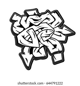Urban art monochrome grafitti vector design. Hip-hop style background. Vector image isolated on white background.