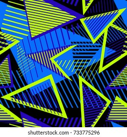 Urban art sport abstract vector seamless pattern with geometric elements, chaotic lines, triangles, stripes. Creative colorful repeat background for boys and girls, textile, apparel. Bright neon color