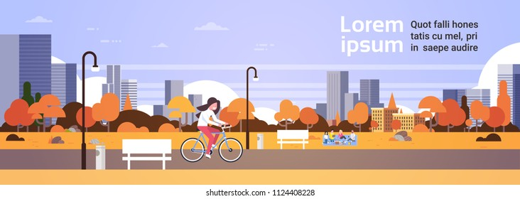 urban autumn park outdoors woman cycling people relaxing picnic street lamps cityscape concept horizontal banner flat copy space vector illustration
