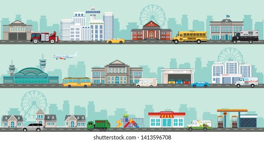 Urban big cityscape with various large modern buildings and suburb with private houses, City life flat infographic design template. vector illustration.