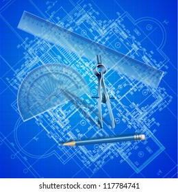 Urban blueprint  with drawing tools. Architectural background (vector).
