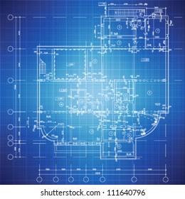 Urban Blueprint (Vektorillustration).  Architektonischer Hintergrund. Teil des Architekturprojekts, des Architekturplans, des technischen Projekts, des Zeichnens von technischen Buchstaben, des Entwurfs auf Papier, des Bauplans