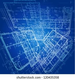 Urban Blueprint (vector). Architectural background.