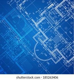 Urban Blueprint (vector). Architectural background. Part of architectural project, architectural plan, technical project, construction plan