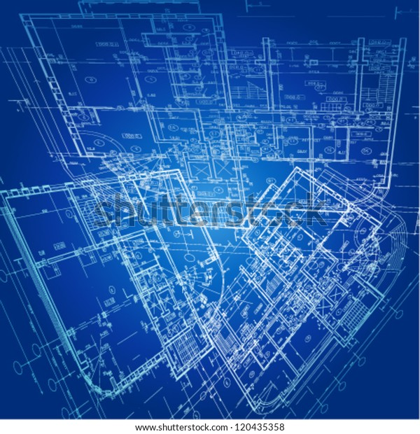 Urban Blueprint Vector Architectural Background Stock