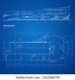 Urban Blueprint (vector). Part of architectural project, architectural plan, technical project, construction plan. Vector illustration