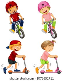 Urban Boys Riding Bicycle and Kick Scooter illustration