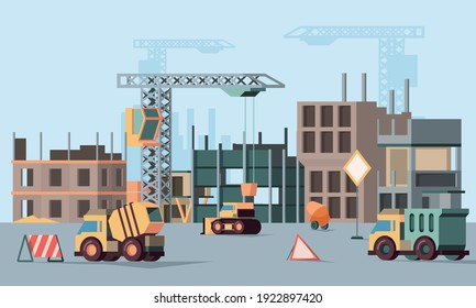 Urban building construction. Stages of big construction skyscraper in city various professional vehicles for builders garish vector background with flat ortogonal
