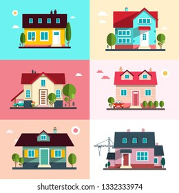 Urban Building Symbols - Vector Flat Design Family Houses Set - Home Exterior Icons