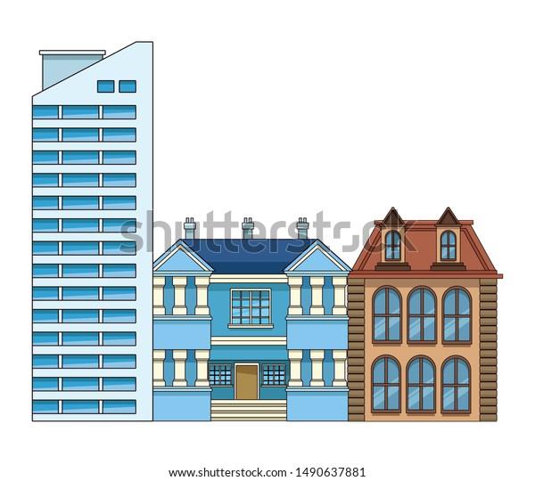 Urban Buildings City Architecture Modern Classics Stock Vector ...
