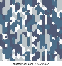 Urban camouflage. Abstract seamless pattern, blue-gray coloring. Oblong rounded spots of unusual shape. Disguise contours in urban environments. Stylish pattern for sports and tourist clothes.