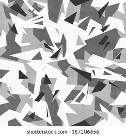 urban camouflage, black and white geometric seamless pattern.