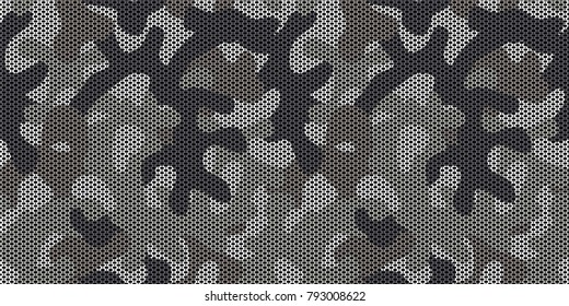 Urban camouflage. Masking mesh to hide people, weapons, equipment, structures by breaking silhouette of object. Seamless vector pattern for military and hunters design.