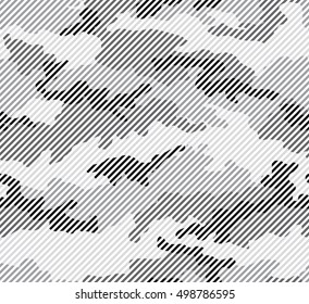 Urban camouflage seamless pattern. Halftone line texture. Black, gray and white color.
