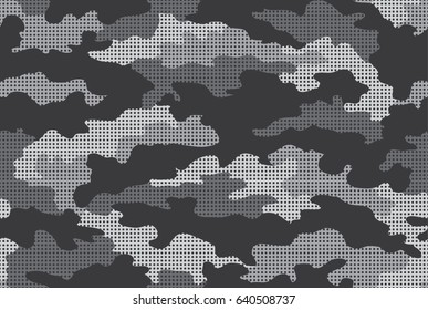 Urban camouflage seamless pattern. Halftone (dot) texture. Black, gray and white color.