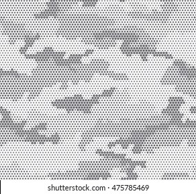 Urban camouflage seamless pattern. Hexagon (honeycomb) texture. Black and white color.