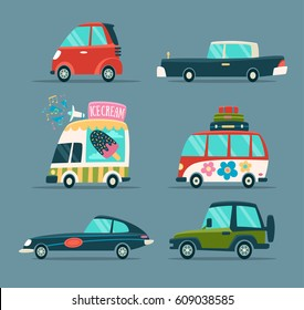Urban Cartoon Cars Icons Set in a Flat Design