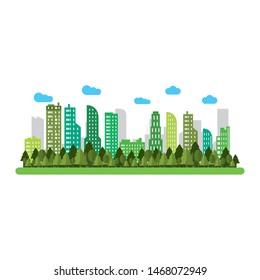 urban city buildings view cartoon vector illustration graphic design