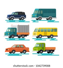 Urban, city cars and vehicles transport vector flat icons set.