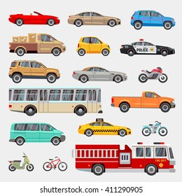 Urban, city cars and vehicles transport vector flat icons set. Car vehicle, car transport, taxi and car transportation illustration