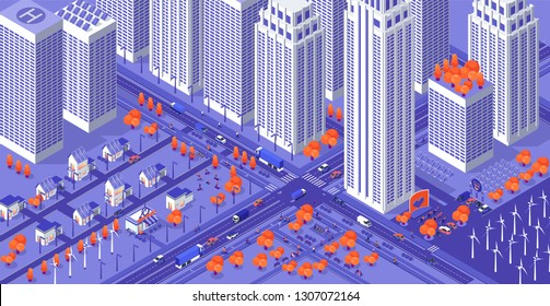 Urban city. Isometric megapolis. High buildings, squares, roads and alternative energy sourses. Web banner design template. Colorful web background. Futuristic town. Cars and cyclists