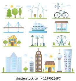 Urban city landscape design elements set in trendy gradient color style.