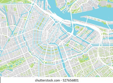 Urban city map of Amsterdam