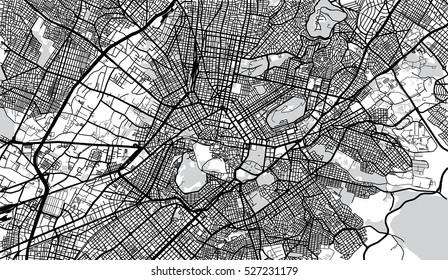 Urban city map of Athens, Greece