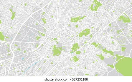 Urban city map of Athens, Greece