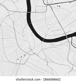 Urban city map of Basel. Vector illustration, Basel map grayscale art poster. Street map image with roads, metropolitan city area view.