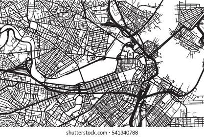 Urban city map of Boston, USA