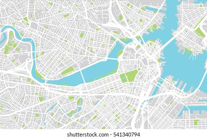 Urban city map of Boston, USA