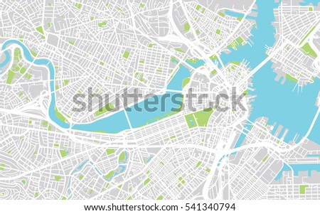 Boston On Usa Map.Urban City Map Boston Usa Stock Vector Royalty Free 541340794