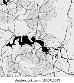 Urban city map of Canberra. Vector illustration, Canberra map art poster.