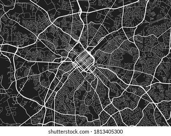Urban city map of Charlotte. Vector illustration, Charlotte map art poster. Street map image with roads, metropolitan city area view.
