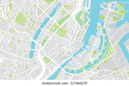 Urban city map of Copenhagen