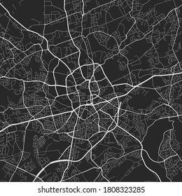 Urban city map of Essen. Vector illustration, Essen map art poster. Street map image with roads, metropolitan city area view.