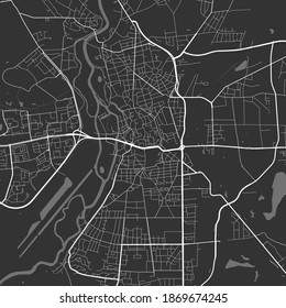 Urban city map of Halle, Saale. Vector illustration, Halle, Saale map grayscale art poster. Street map image with roads, metropolitan city area view.