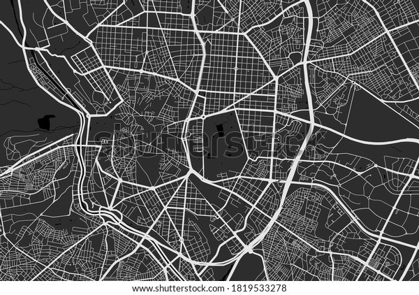 Urban city map of Madrid. Vector illustration, Madrid map grayscale art poster. Street map image with roads, metropolitan city area view.