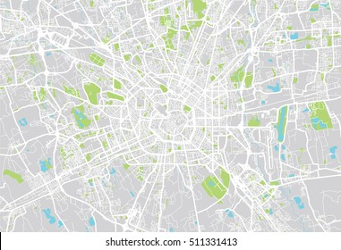Urban city map of Milan, Italy