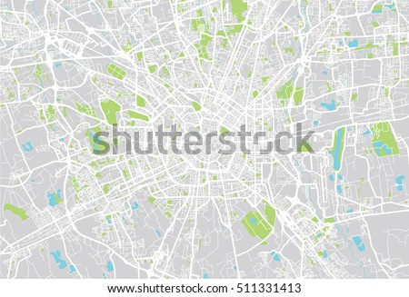 Urban City Map Milan Italy Stock Vector (Royalty Free) 511331413 ...