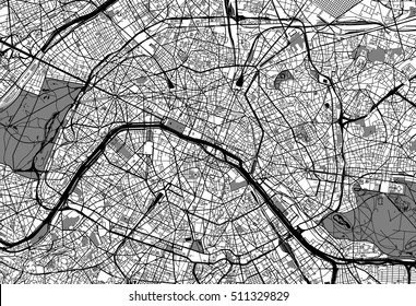 Urban city map of Paris, France