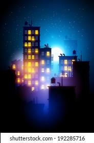 Urban City At Night. Vector illustration of apartment blocks in a city at night.