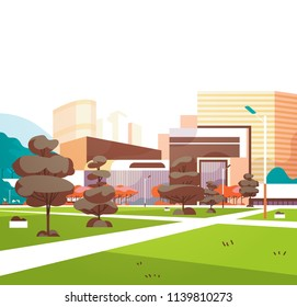 urban city park skyscraper buildings view modern cityscape downtown flat vector illustration