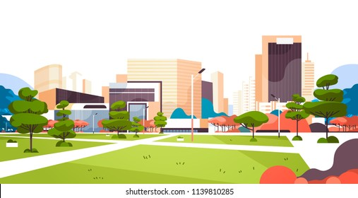 urban city park skyscraper buildings view modern cityscape downtown flat horizontal vector illustration