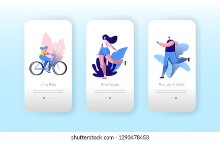 Urban City Sport Lifestyle Mobile Application Onboard Screen Set. Man Run, Happy Woman Ride Bike. Outdoor Fitness Exercise Concept for Website or Web Page. Vector Flat Cartoon Illustration