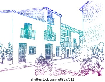 Urban color sketch with landscape of the old European city. Old street in hand drawn style on white background
