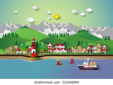 Urban countryside landscape city village  and sea bay.paper art style.