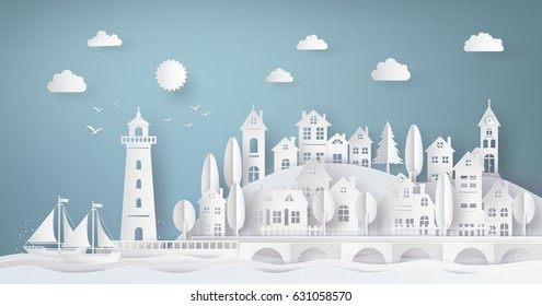 Urban Countryside Landscape City Village and sea bay with sunset,paper art and  digital craft style.