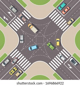 Urban crossroad with cars and pedestrian paths. City intersection with pedestrian zebra lines. Top view of crossroads. Cityscape landscape from above. Vector Illustration